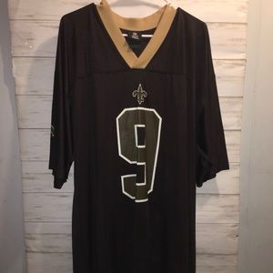 2X Long Saints Jersey Black Gold Sportswear NWOT